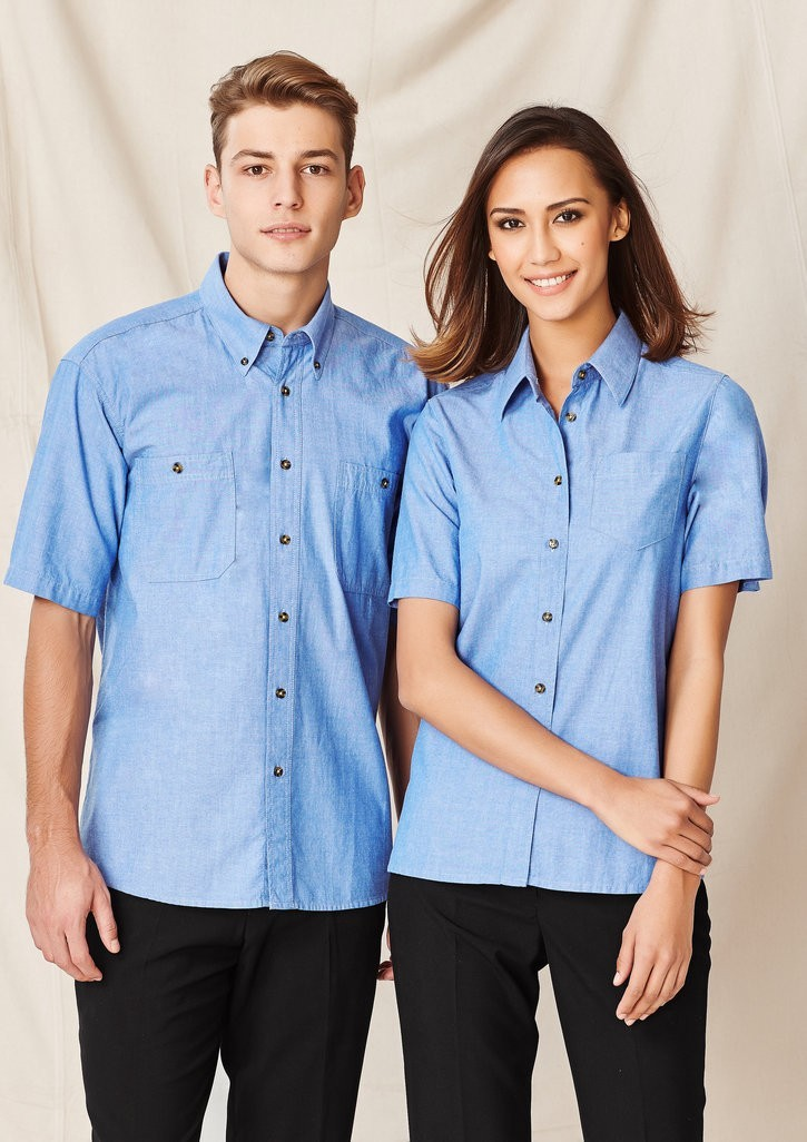 Chambray shirt short sleeve wrinkle free ladies for Wrinkle free shirts for women