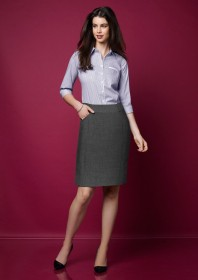 Ladies Feature Pleat Skirt-Grey