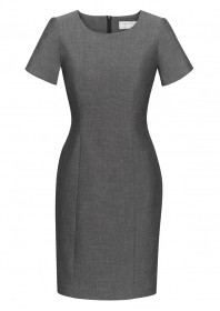 Ladies Short Sleeve Shift Dress-Grey