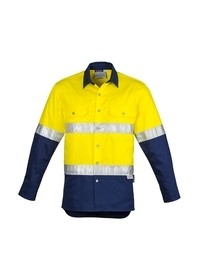 Mens Hi Vis Spliced Industrial Shirt - Hoop Taped