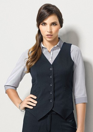 Ladies-Peaked Vest with Knitted Back