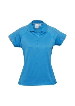 BIZ COOL Blade Polo for Ladies - Cyan Silver Colour
